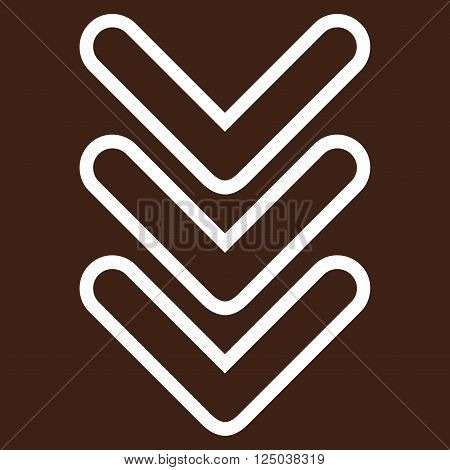 Triple Pointer Down vector icon. Style is contour icon symbol, white color, brown background.