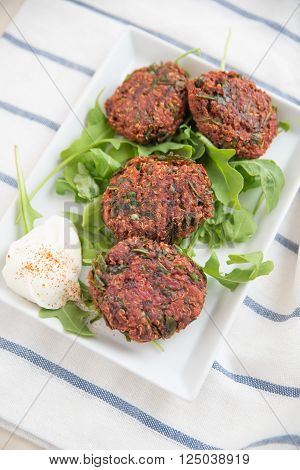 Home made vegan beet root burger patties