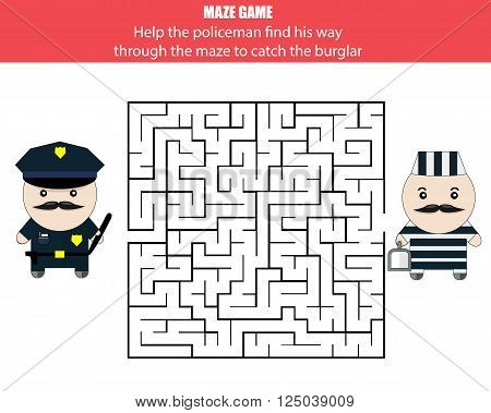 Maze game. Help the policeman catch the robber
