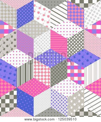 Seamless patchwork pattern. Quilting design with stars from different patches. Vector illustration.