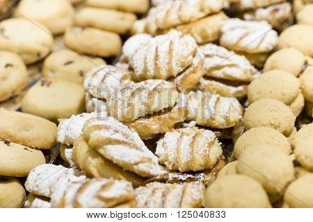 variety of handmade pastry cookies decorated with sugar