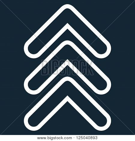 Triple Pointer Up vector icon. Style is thin line icon symbol, white color, dark blue background.