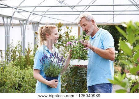 Staff At Garden Center Looking At  Plants