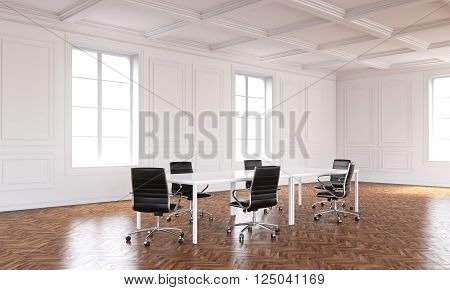 Boardroom interior with wooden floor and white walls. 3D Rendering