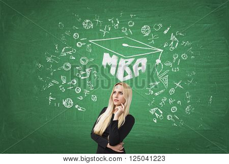 Businesswoman with hand at cheek academic hat science icons and MBA drawn over her. Green background. Concept of education.