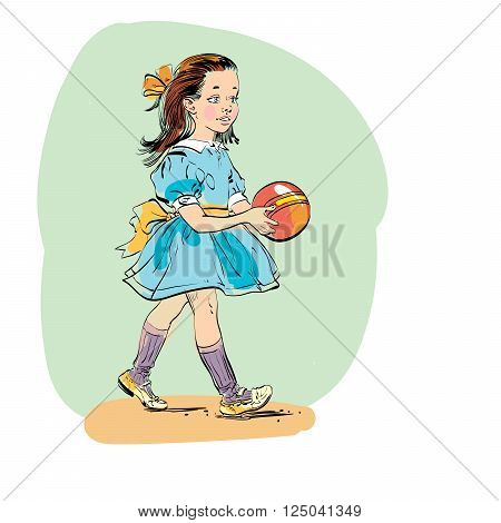 Sweet girl with ball. Evolution and biology. Vector line art illustration. Comic style character