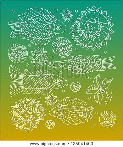 Fishes shells sea anemones and starfish elements set. Elements for your design. Vector illustration