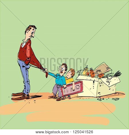 Dad and kids. Family and home games. Boy and girl playing with dad. Vector illustration of a line art comic style
