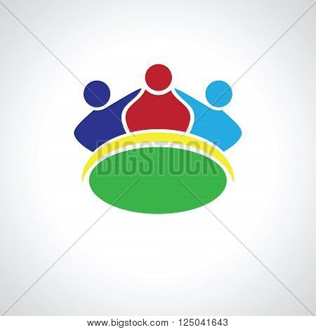 Teamwork three Friends logo image. Concept of Group of People happy team victory