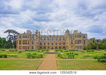 SAFFRON WALDEN ENGLAND - MAY 13 2011: Audley End House and Garden Front in Essex in the United Kingdom. It is a medieval county house. Now it is under protection of the English Heritage.