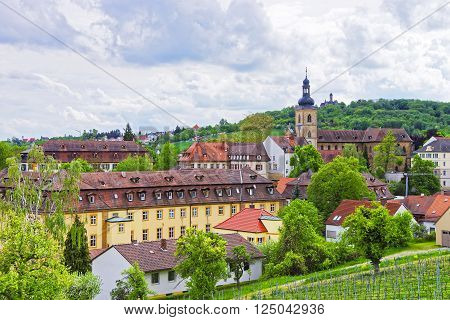 Panoramic view of Bamberg city and St Jacob Church in Bamberg in Germany. The city is under the UNESCO protection