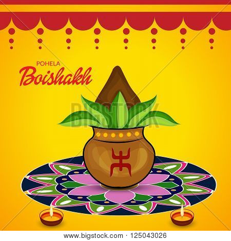 Illustration of Bengali new Year Poila Baisakh in Bengali typography with traditional background.