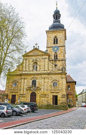 St Jakob Church in Bamberg in Germany. It is also called Jakobsskirche a Roman basilica