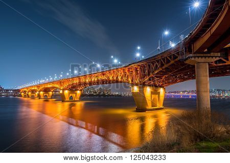 Han River And Seongsu Bridge At Night In Seoul, Korea.