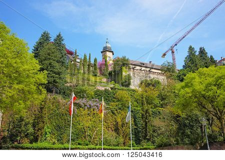 View on New Castle and its Terrace in Baden-Baden . Baden-Baden is a spa town. It is situated in Baden-Wurttemberg in Germany.