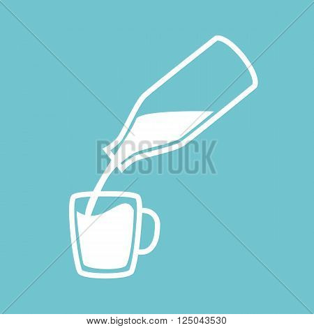 Natural milk symbol or logo. Milk pouring from a bottle in cup. Concept idea for business. Vector illustration.