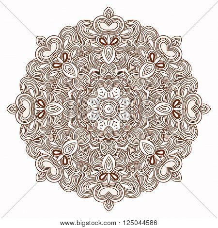 Vector uncoloring hand drawn mandala. Can be used as adult coloring book,  coloring page, card, invitation.