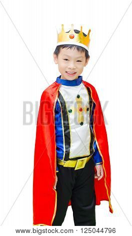 Asian boy dressed in prince costume over white