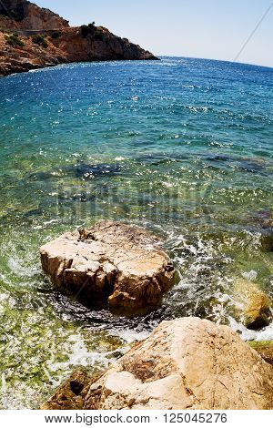 Asia In Thurkey Antalya Lycia Way Water Rocks And Sky Near The Nature