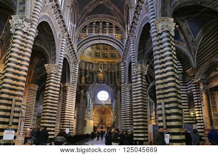 SIENA, ITALY - MARCH 12, 2016: Inside view of the Interior of Siena Cathedral in Tuscany Italye duomo Siena