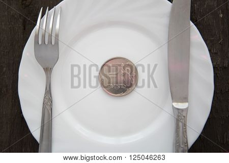 One Ruble Coin On A White Plate