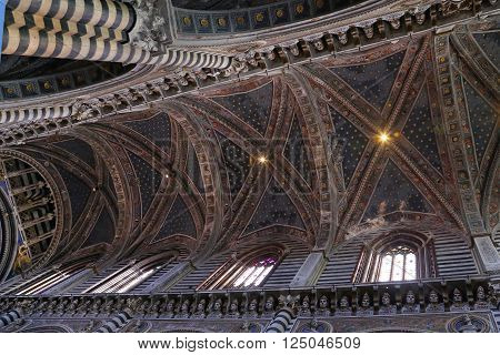 SIENA, ITALY - MARCH 12, 2016: Inside view of the Interior of Siena Cathedral in Tuscany Italye duomo Sien