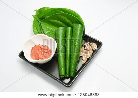 Thai set of old style gum and betel leaf