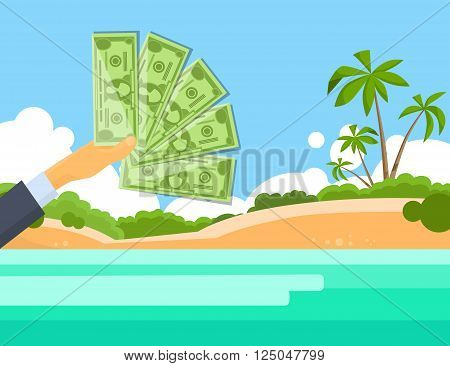 Hand Hold One Hundred 100 Dollars Banknote Tropical Island Palm Tree Offshore Banking Concept Flat Vector Illustration