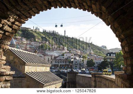 TBILISI, GEORGIA - MAY 17: View on old Tbilisi form Metekhi Church Arch. Tbilisi Georgia. May 2014.