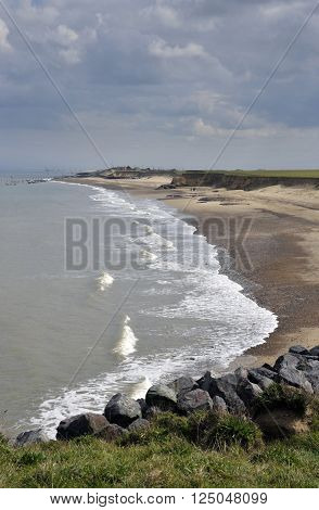 Changing landscape as the coastline and beach at Happisburgh in North Norfolk suffers coastal erosion.
