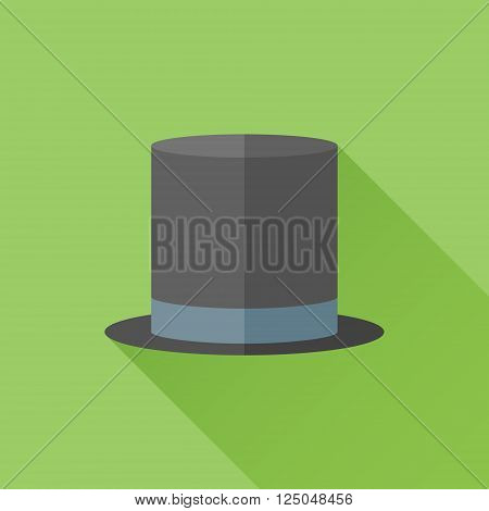 Black top hat flat icon with long shadow on green background. Cylinder gentleman hat. Vector illustration.