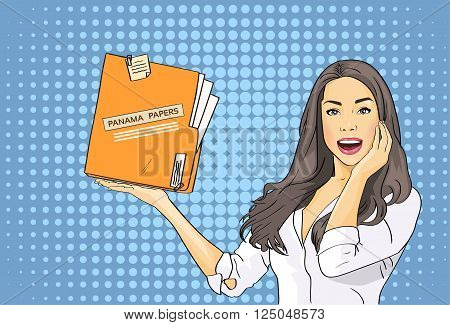 Business Woman Hold Panama Papers Folder Pop Art Colorful Retro Style Vector Illustration