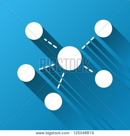 Connections vector toolbar icon for software design. Style is a white symbol on a square blue background with gradient long shadow.