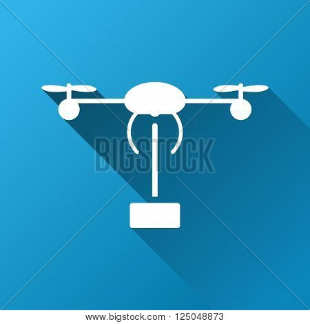 Copter Shipment vector toolbar icon for software design. Style is a white symbol on a square blue background with gradient long shadow.