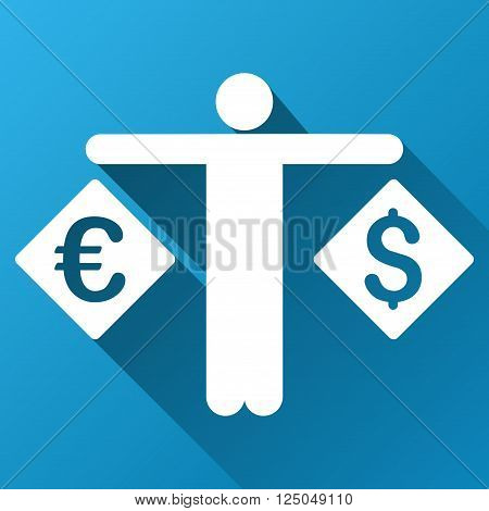 Forex Trader vector toolbar icon for software design. Style is a white symbol on a square blue background with gradient long shadow.