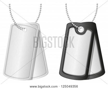 soldier military dog tags vector illustration isolated on white background
