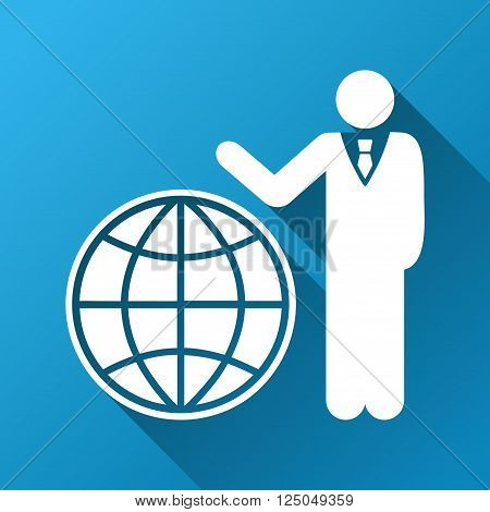Global Manager vector toolbar icon for software design. Style is a white symbol on a square blue background with gradient long shadow.