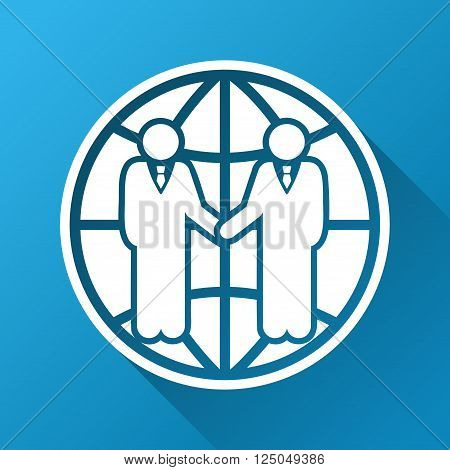 Global Partnership vector toolbar icon for software design. Style is a white symbol on a square blue background with gradient long shadow.