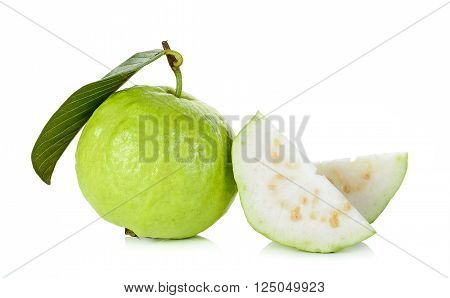 Sliced Guava Fruit Isolated On The White
