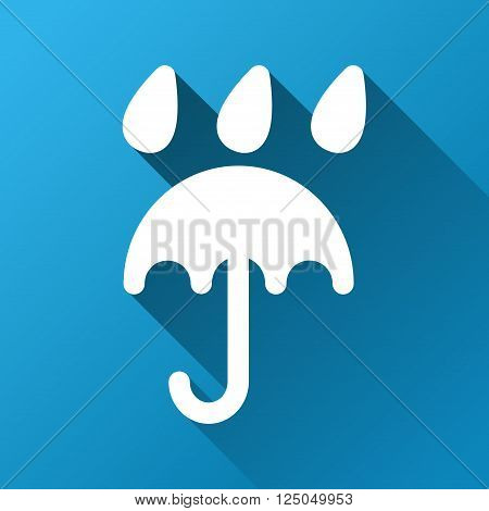 Umbrella under Rain vector toolbar icon for software design. Style is a white symbol on a square blue background with gradient long shadow.