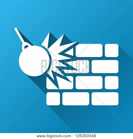 Wall Destruction vector toolbar icon for software design. Style is a white symbol on a square blue background with gradient long shadow.