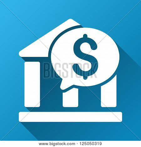 Bank Transaction Message vector toolbar icon for software design. Style is a white symbol on a square blue background with gradient long shadow.