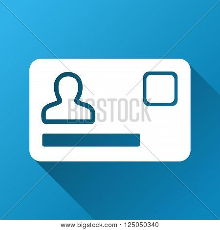 Banking Card vector toolbar icon for software design. Style is a white symbol on a square blue background with gradient long shadow.