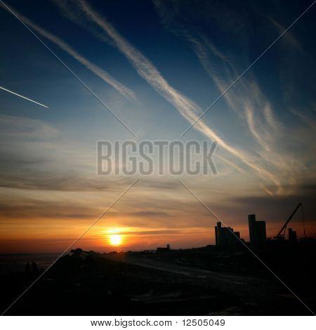 sunrise on blue indigo sky