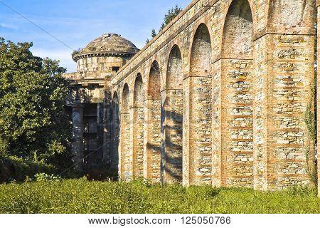 Roman aqueduct in the Italian city of Lucca