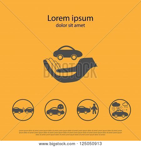 Car insurance Icon. Car insurance Icon logo. Car insurance Icon Sign. Car insurance Icon Flat