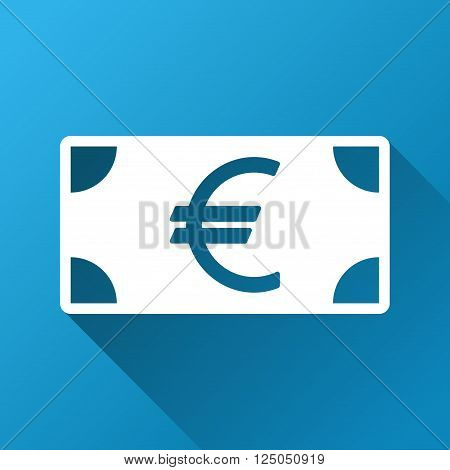 Euro Banknote vector toolbar icon for software design. Style is a white symbol on a square blue background with gradient long shadow.