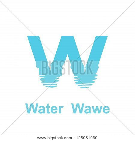 W letter logo waterfront icon 2d vector on white background eps 8