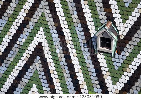 Mosaic roof pattern of the St. Stephens Cathedral (Stephansdom) in Vienna, Austria
