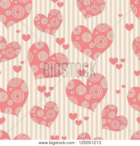 Seamless pink background with hearts. Wallpapers Valentine's Day wedding wallpapers. Vector illustration.